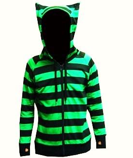 black_and_green_stripe_scene_emo_kitty_ears_hoodie