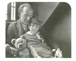 A.A. Milne and Christopher Robin and Pooh Bear