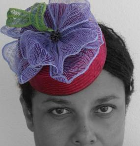 Fascinator w/recycled sisal and machine embroidery